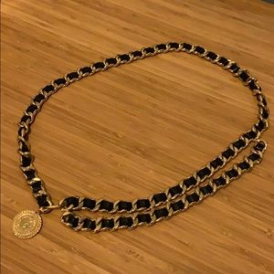 Vintage CHANEL black leather and gold chain belt